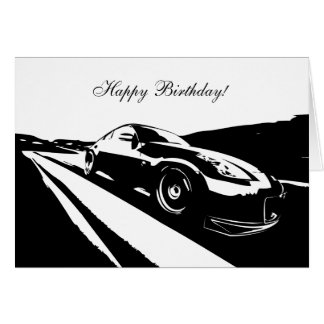 350Z car themed Birthday Card