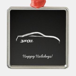 350Z White Brushstroke Christmas Ornaments