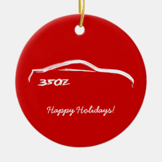 350Z White Silhouette with Red Background Christmas Ornament
