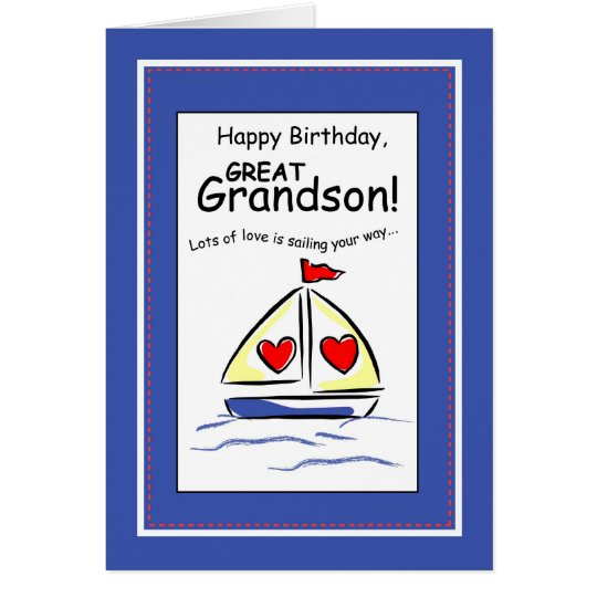3541 Great Grandson Religious Sailboat Birthday Card