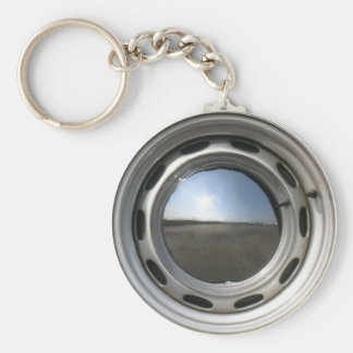 356 Classic car wheel (rim) with chrome hubcap Basic Round Button Key Ring
