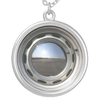 356 Classic car wheel (rim) with chrome hubcap Silver Plated Necklace