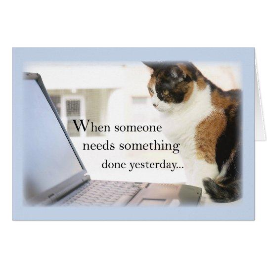 3588 Admin Pro Cat Computer, Humour Card