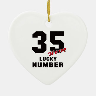 35 It's my lucky number Ceramic Heart Decoration