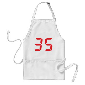 35 thirty-five red alarm clock digital numbr aprons
