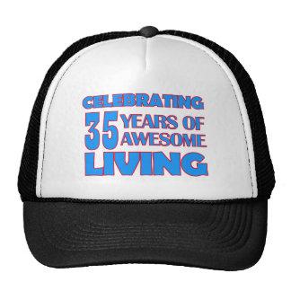 35 years old birthday designs cap