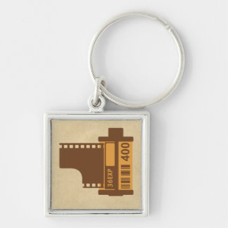 35mm Film Analog Design Silver-Colored Square Key Ring