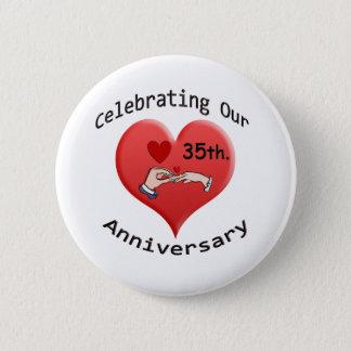 35th. Anniversary 6 Cm Round Badge