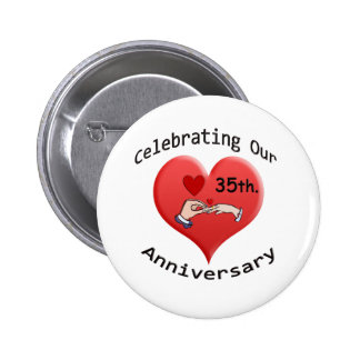 35th. Anniversary 6 Cm Round Badge