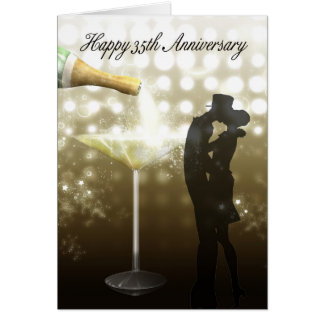 35th Anniversary - Champagne Greeting Card