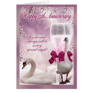 35th Anniversary - Coral Anniversary Greeting Card