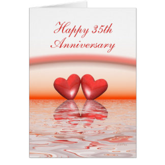 35th Anniversary Coral Hearts Card