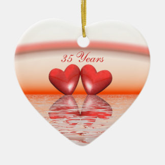 35th Anniversary Coral Hearts Ceramic Heart Decoration