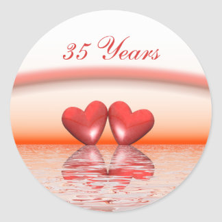 35th Anniversary Coral Hearts Classic Round Sticker