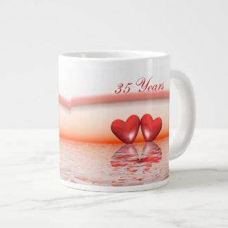 35th Anniversary Coral Hearts Large Coffee Mug