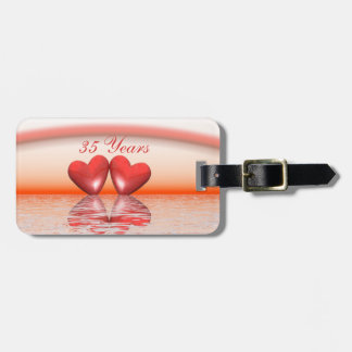 35th Anniversary Coral Hearts Luggage Tag