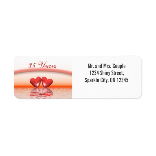 35th Anniversary Coral Hearts Return Address Label