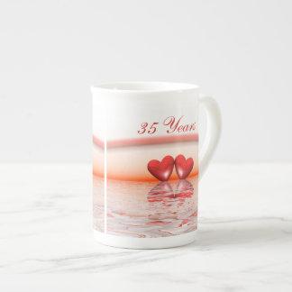35th Anniversary Coral Hearts Porcelain Mugs