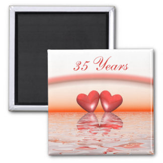 35th Anniversary Coral Hearts Square Magnet