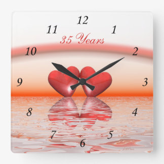 35th Anniversary Coral Hearts Square Wall Clock
