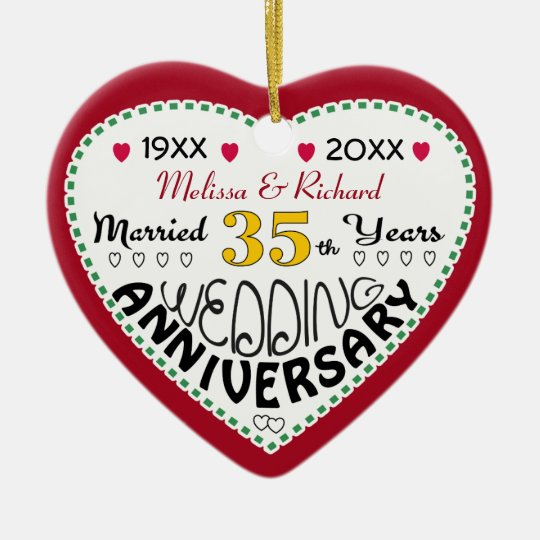 35th Anniversary gift heart shaped Christmas Christmas Ornament