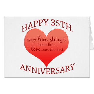 35th Wedding Anniversary Gift For Wife : 35th. Anniversary Greeting Card