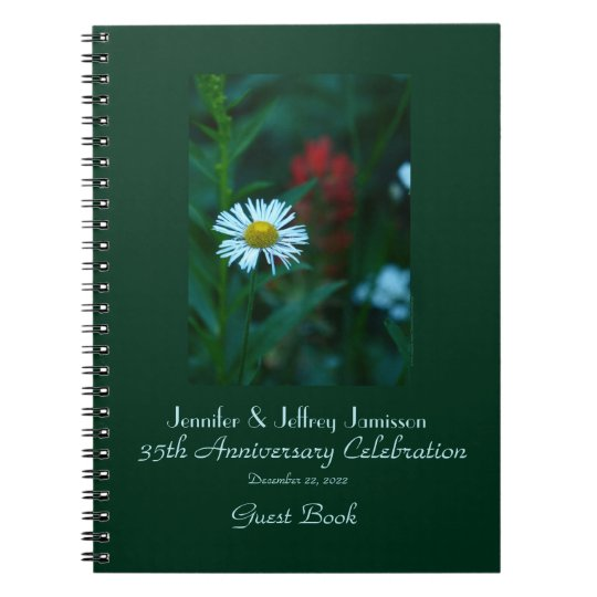 35th Anniversary Party Guest Book, White Daisy Spiral Notebook
