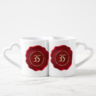 35th anniversary red wax seal couples mug