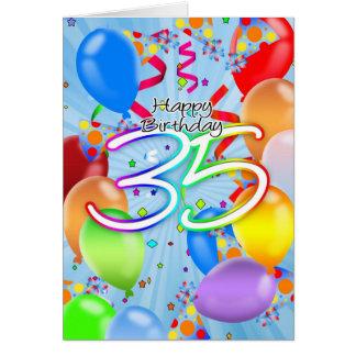 35th Birthday - Balloon Birthday Card - Happy Birt