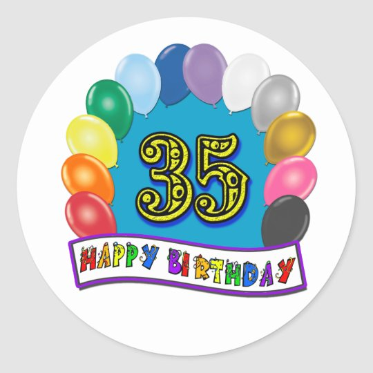35th Birthday Balloons Design Classic Round Sticker