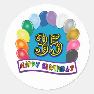 35th Birthday Balloons Design Round Sticker