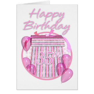 35th Birthday Gift Box - Pink - Happy Birthday Card