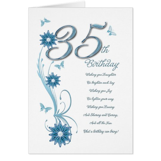 35th birthday in teal with flowers and butterfly card