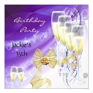 35th Birthday Party Elegant Purple Gold 13 Cm X 13 Cm Square Invitation Card