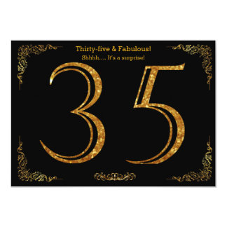 35th Birthday party,Gatsby styl,black gold glitter Card