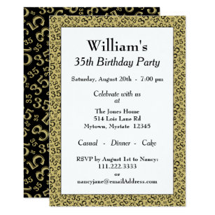 35th Birthday Party Gold And Black Pattern Invitation