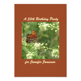 35th Birthday Party Orange Butterfly Personalized 13 Cm X 18 Cm Invitation Card