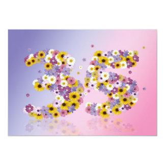 35th Birthday party, with flowered letters 5x7 Paper Invitation Card