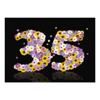 35th Birthday party, with flowered letters Personalized Invitation