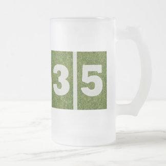 35th Birthday Yard Football Glass Mug