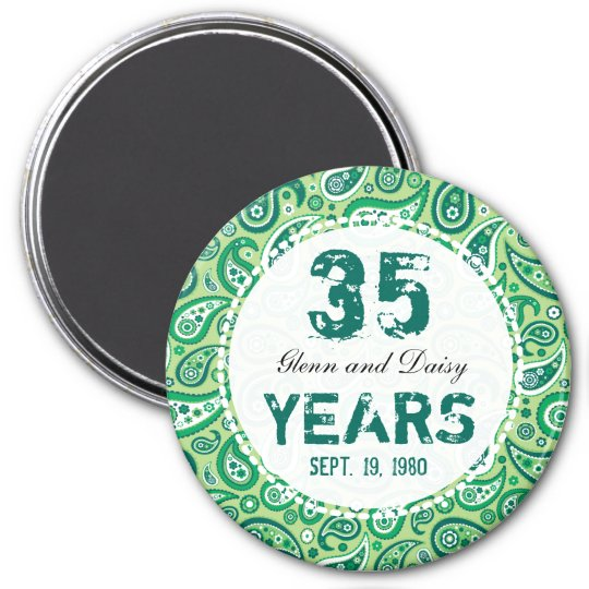 35th Jade Wedding Anniversary Paisley Pattern Magnet Zazzle