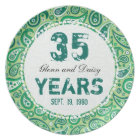 35th Jade Wedding Anniversary Paisley Pattern Plate