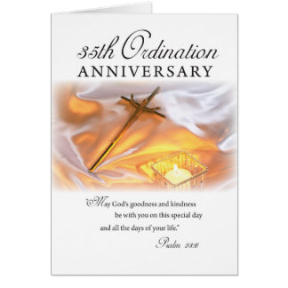 35th Ordination Anniversary, Cross Candle Greeting Card