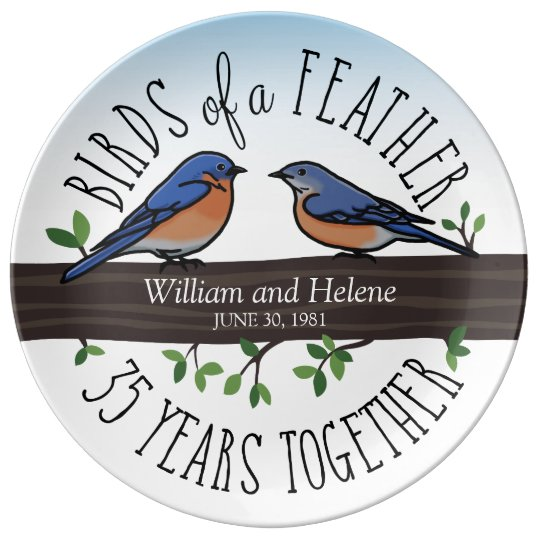 35th Wedding Anniversary, Bluebirds of a Feather Plate
