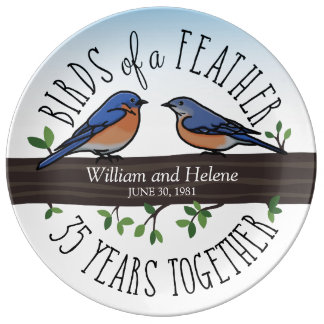 35th Wedding Anniversary, Bluebirds of a Feather Porcelain Plates