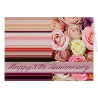 35th Wedding Anniversary Card -Pastel roses stripe