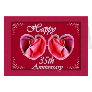 35th Wedding Anniversary Fern Filled Heart Card