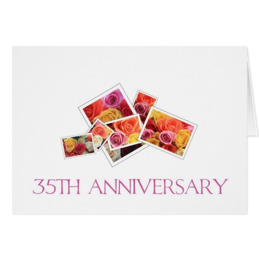 35th Wedding Anniversary mixed rose bouquet Card