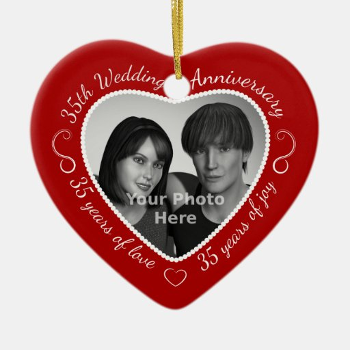 35th Wedding Anniversary Photo Christmas Tree Ornament