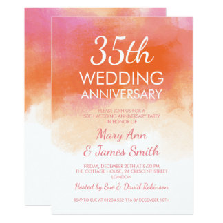 35th Wedding Anniversary Pink Coral Watercolor Card